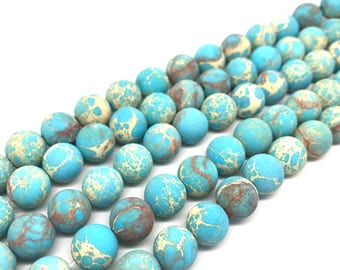 Matte finished Sea Sediment Jasper round 6mm, 8mm, 10mm FULL STRAND