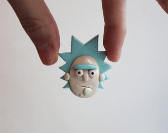 Rick and Morty brooch gift Rick Sanchez pin Rick Sanchez brooch Pickle rick Funny brooch gift Cartoon jewelry Christmas Funny gift for him