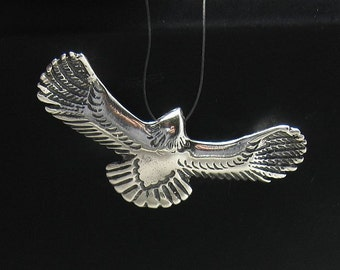 PE000669 Sterling silver pendant  solid 925 flying eagle