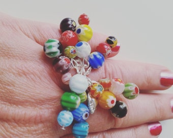 Millefiori, millefiore ring, adjustable ring,hippie, bohemian, mix colour, red, blue, yellow, white, green, purple, by NewellsJewels on etsy