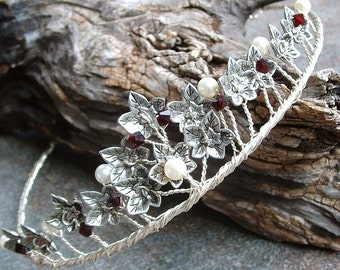 Ivy Leaf Tiara Woodland Wedding Crown in Silver or Gold with Swarovski Crystals Custom Colors