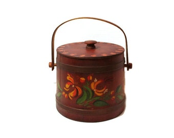 Vintage Basketville Putney Vermont  Firkin Style Wooden Bucket with Lid and Handle, Floral Design