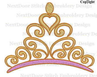 Crown Embroidery Design, filled stitch machine embroidery,  princess king queen download, prs-014-fill