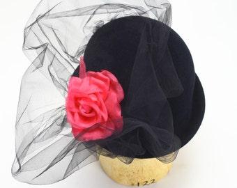 Black Velour Fur Felt Fascinator Cocktail Bowler Winter Hat, Fuchsia Pink Silk Flower, Black Tulle Netting-Handmade Hats/Couture Millinery