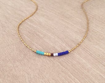 Minimalist Gold Delicate Short Necklace with Tiny Beads / Thin Layering Necklace / Colorful & Simple Boho Necklace