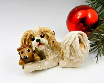 Havanese Gold Cream Christmas Ornament Figurine Porcelain OOAK Toy Hedgehog