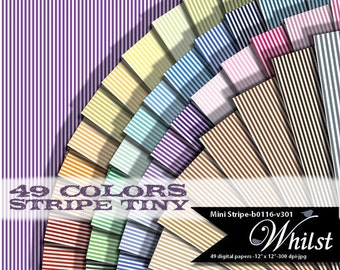Stripe digital paper, tiny stripe printable, mini stripe scrapbooking, stripe background stripes digital : b0116 v301 49C