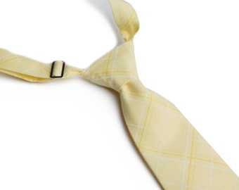 Yellow Plaid Neck Tie With Adjustable Strap