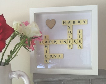 personalised Scrabble Picture Frame Gift Present