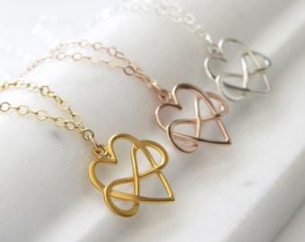 Collier en coeur infini • coeur & infini symbole • amitié collier • meilleur ami • cadeau d'anniversaire pour un ami • cadeau de l'amour éternel