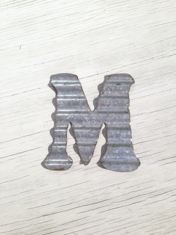 Captivating Corrugated Metal Wall Letters Home Decor Initial Rustic