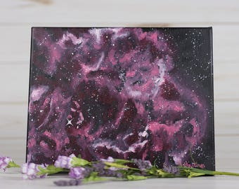 Abstract Oil Painting of the Rosette Nebula, Astronomy Art, 8X10, painted by Shannon Hastings