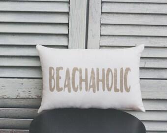 BEACHAHOLIC Decorative Pillow Beach Pillow Decor Pillow Simple Pillow burlap pillow fabric pillow 15x10 pillow