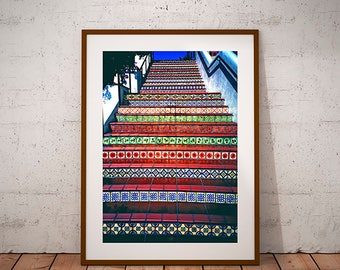 Santa Barbara Spanish Talavera tiled style stairway