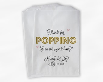 Thanks For Popping By Popcorn Bags - Black and Gold Script Candy Buffet Favor Bags for Wedding, Birthday, Shower - Paper Treat Bags (0193)