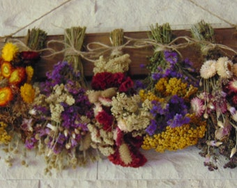 Dried Flower Rack, Herb Rack, Rack for Dried Flowers, Country Wall Decor, Rustic Wedding Decor, Cottage Decor, Wall Rack