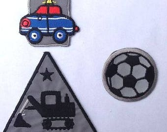 Reflective Ironing patches-3 pieces-car excavator Soccer