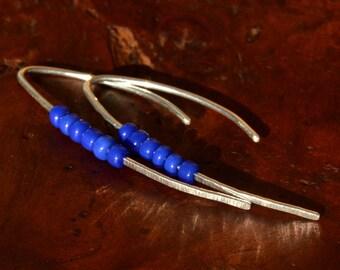 Long Blue Beaded Earrings - Threader Earrings - Sterling Silver Threader Earrings - Made in Vermont