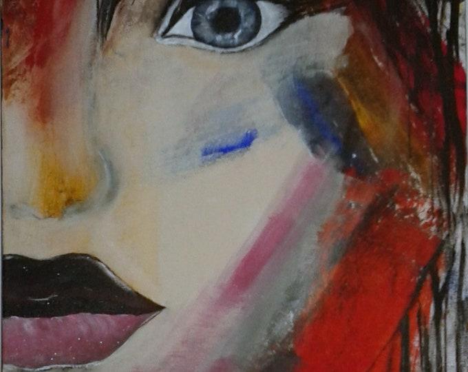 picture face modern woman, colors, Acrylic paint, red, blue, beige, original, unique gift idea
