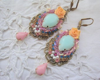 Earrings pink Opal Crystal and glitter resin and crystal earrings