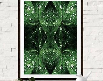Green Leaf Photo Art, Macro Photo Art Print, Raindrops Wall Art, Abstract Nature Poster, Modern Green Wall Art, Abstract Art, Nature Photo