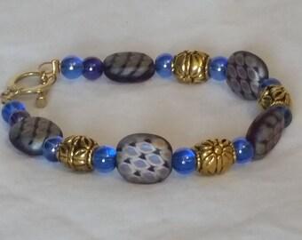 Burgandy and blue bracelet