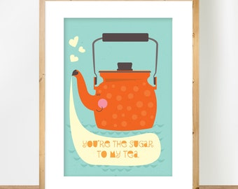Scandinavian Teapot Print, Tea Print, Orange Teapot Illustration, Orange Nursery Art, Kitchen Decor, A4 Poster