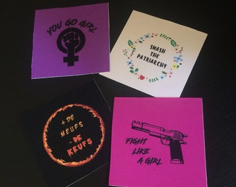 Set of 4 stickers of feminist