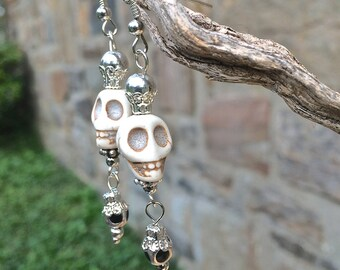 Day of the Dead Skull Earring Frida Kahlo Jewelry Sugar Skull Katrina Queen SteamPunk Jewelry Halloween Cinco de Mayo Fiesta Jewelry Gift