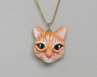 Cat Necklace, Polymer Clay Cat, minimio Necklace, Handmade, OOAK, Gift Idea