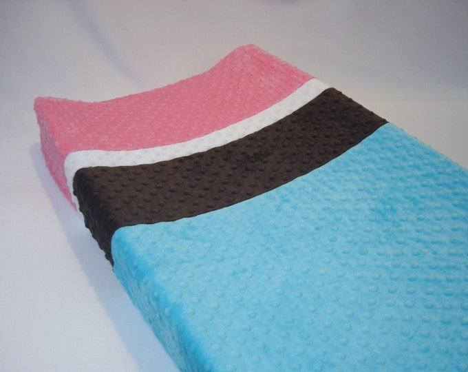 Changing Pad Cover Color Block Four Band Pink Blue