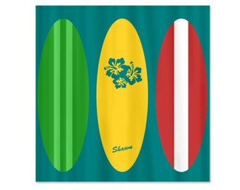 Vintage Surfboards Dude - Personalized Kids Shower Curtain
