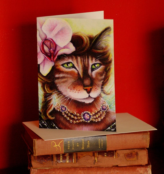 Bengal Fairy Cat Orchid Flower 5x7 Blank Greeting Card
