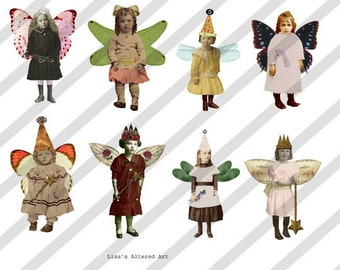 Digital Collage Sheet Fairies With Wings 3 (Sheet no. FW3) Instant Download