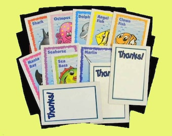 16 Sea Life Thank You Cards. 16 Thank You Gift Tags Upcycled on Fish Playing Cards. 5356