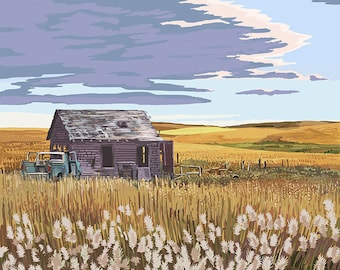 Nouth Dakota - Wheat Field and Shack (Art Prints available in multiple sizes)