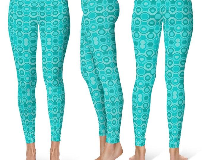 Nautical Leggings Yoga Pants, Turquoise Yoga Tights for Women, Shades of Blue