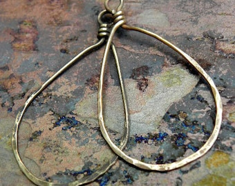 Brass Teardrops 1 inch wide, natural or antiqued, handmade findings, PurpleLilyDesigns