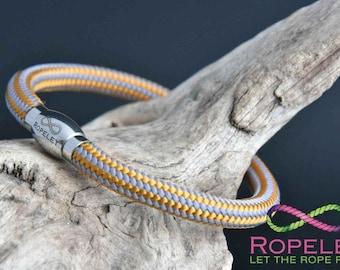 Orange and silver Ropelet handmade rope bracelet climbing bracelet  surfer bracelet fashion bracelet climbing/marine rope