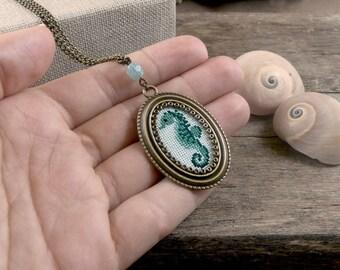 Aqua Green Seahorse Cross Stitch Necklace, Stitched Seahorse Necklace, Cross Stitch Jewelry, Green Seahorse Pendant, Embroidery Necklace