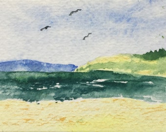 ACEO watercolour painting of seaside
