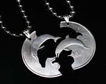 Buck and Doe Heart Iceland 5 Kr. Cut coin Pendants with Necklace Hand Cut Couple Relationships, Love