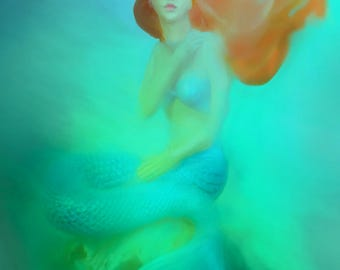 "Mermaid Wall Art - mermaid bedroom decor 11x14 mermaid print 16x20 mermaid theme room 8x10 blue girls wall decor 5x7 watercolor - ""Siren"""