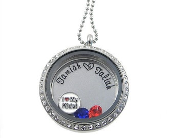 Family Floating Locket / Kids Names Locket / Memory Locket / Hand Stamped Jewelry