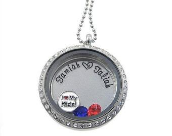Family Floating Locket / Kids Names Locket / Memory Locket / Hand Stamped Jewelry