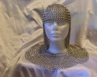 Chainmaille Hood Coif Armor medieval renaissance Costume Cosplay Larp accessory