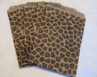 100 Paper Bags, Gift Bags, Candy Bags, Animal Print, Cheetah Leopard Print, Brown Paper Bags, Small Paper Bags, Retail Merchandise Bags 5x7