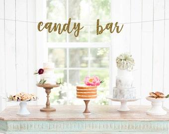 Candy Bar Banner, Candy Buffet Banner, Wedding Reception Banner, Dessert Bar, Wedding Decorations, Candy Bar Sign, Wedding Banner, Glitter