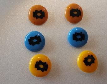 Southwestern Motif Button Style Pierced Earrings