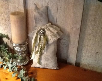 Shabby chic, Cottage chic, Cat Pillow, Cream and Green, embellished, ooak, OFG